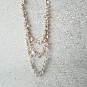 Long pearl necklace. 3 row/layered.
